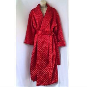 Victoria's Secret Red Satiny Quilted Long Robe Sm